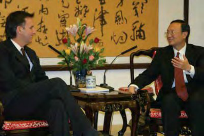 Governor Pawlenty meets with Chinese Vice Minister of Foreign Affairs Yang Jiechi during a trade mission to China in November 2005