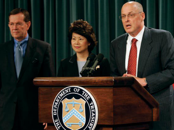 Secretaries Leavitt, Chao, and Paulson, at the release of the Social Security and Medicare Trustees Report this past April.
