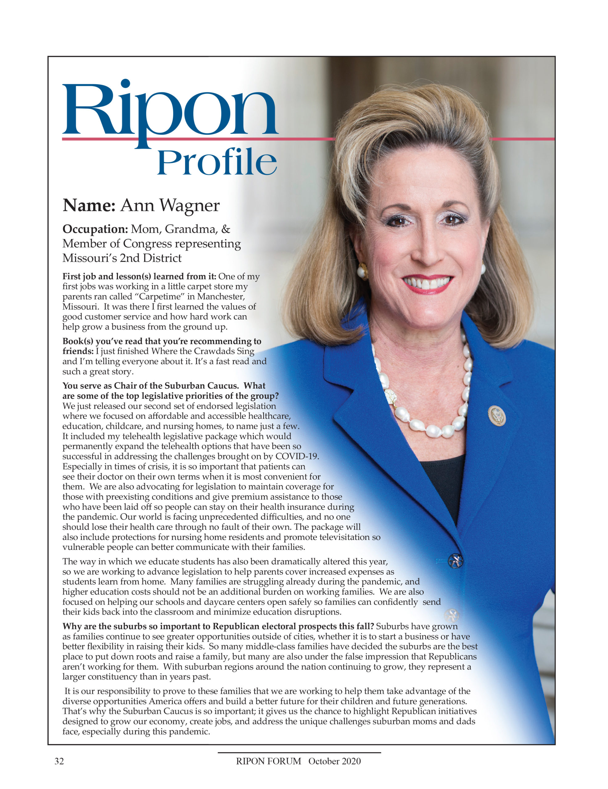 Ripon Profile of Ann Wagner